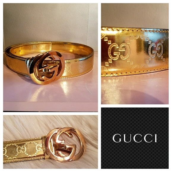3f3938de2b56 Authentic GUCCI Gold GUCCISSIMA Logo Belt